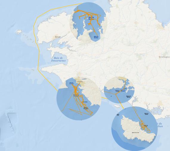 Carte des trajets du Thalia durant la campagne