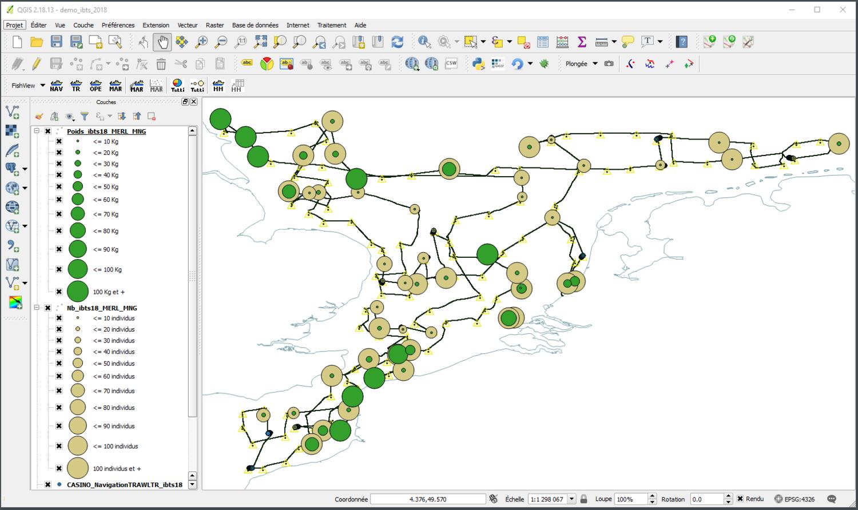 Découpage de données en classes homogènes pour le Merlan (poids et nombre d'individus)
